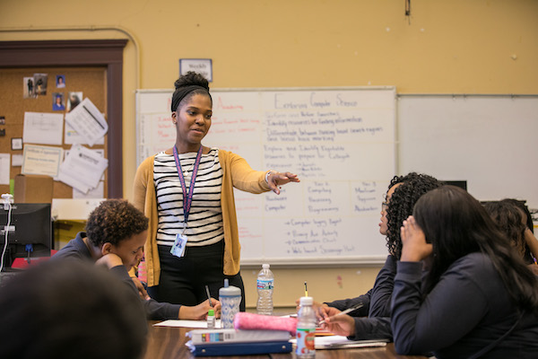 Teacher leads classroom discussion
