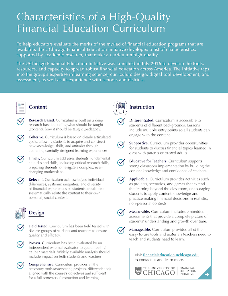 The Financial Education Curriculum Checklist cover